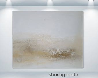 Modern Textured Abstract Landscape Art Painting Minimalist Brown Earth White Print Commission Signed USA Home Office DIY Decorating Design