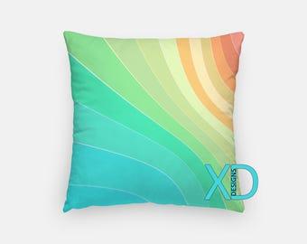 Rainbow Swirl Pillow, Waves Pillow Cover, Bright Pillow Case, Rainbow Pillow, Artistic Design, Home Decor, Decorative Pillow Case, Sham