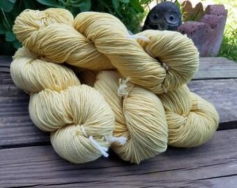 "Yellow Sock Yarn - naturally dyed - ""Cornmeal"" - superwash wool and nylon 100g 357 yards"