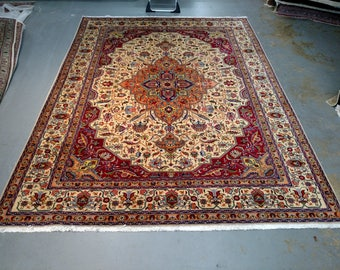 1990s Room-Sized Hand-Knotted Tabriz Persian Rug (3694)