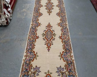 SUMMER CLEARANCE Persian Rug - 1970s Vintage, Hand-Knotted, Kerman Runner (3520)