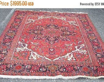 SUMMER CLEARANCE 1970s Hand-Knotted Vintage Ahar Heriz Persian Rug (3026)