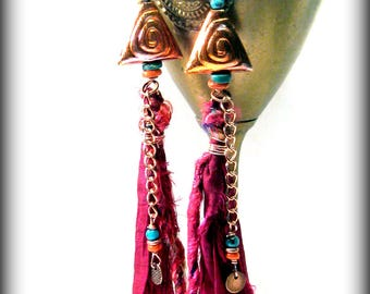 Sari Silk Earrings, Tassel Earrings, Gypsy Jewelry, Recycled Earrings, Silk Earrings, Fringe Earrings, Bohemian Jewelry