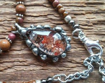 Garden Quartz Necklace, Pendant Necklace, Teardrop Pendant, Lodolite Necklace, Quartz Necklace, Tiffany Style, Bohemian Jewelry