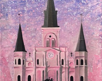 """18""""x24"""" New Orleans St. Louis Cathedral mixed media painting ORIGINAL"""
