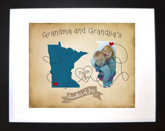 The love between grandparents maps, grandma, grandpa, two state maps or country, visiting grandma, gift for mothers day, fathers day, nana