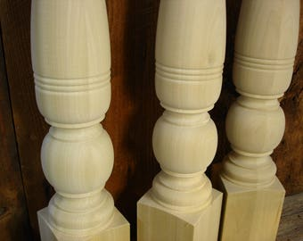 "set of 4 Turned legs, Solid hardwood, New in farm table style, 3-1/2"", 28-3/4"""