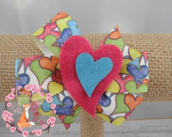 Pink Blue Yellow Green Orange White Heart Bow
