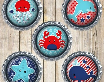 Nautical theme - Nautical earth magnets - Whale magnet - Dolphin magnet - Crab magnet - Star fish - Jelly fish - Ocean theme - Nautical gift