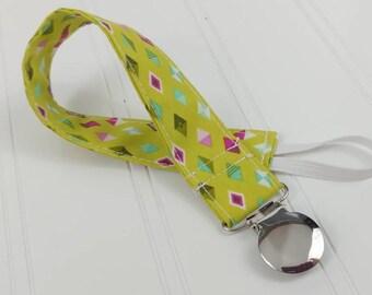 Pacifier Clip / Leash - Green Diamonds