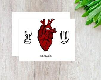 I Love You Card, Anniversary Card, Anatomical Heart Card, Love Card, Love Heart Card, Card for Her, Card for Him, Medical Anniversary Card