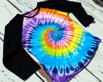 Rainbow Tie Dye Baseball Tee // LAT Women's Large Baseball Shirt with Hand dyed body // Adult Large // Rainbow Spiral Swirl