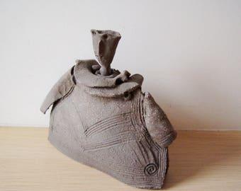 Abstract ceramic figure, black clay ceramic sculpture, ceramic robed figure, ceramic figurine art object,