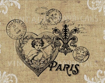 Paris love printable graphic Instant Digital download image for Paper Iron on transfer Burlap Decoupage Pillow Card Totes No. gt328