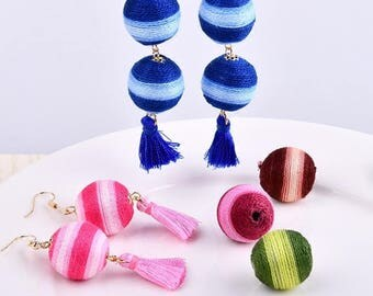 10 Pieces, Handmade DIY Material, Ball Cluster, Color Beaded Ball, Earrings String Rope, Rope Headdress Accessories, Headpiece Ball