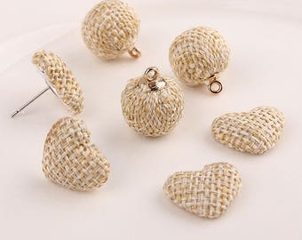 30 Pieces, Hemp rope made, Heart Pendant,Ball Cluster, Beaded Ball, Earrings String Rope, Rope Headdress Accessories, Headpiece Ball