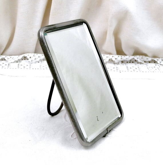 Antique 20's French Barber's Beveled Mirror with Adjustable Free Standing Easel Chrome Frame,Hand Held Wall Hanging Retro Bathroom