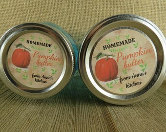 Mason Jar Canning Labels -  Vintage Pumpkin Design - Personalized Canning Sticker Labels  - 20 - 2 Inch Or 12-2.5 inch Round Labels - vfc