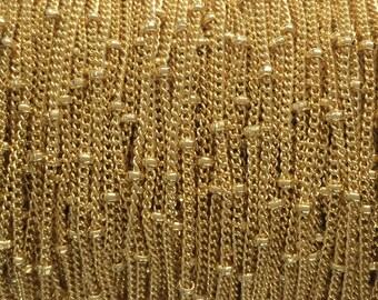 20FT(6mt) Gold Filled chain, bulk satellite chain link 1.2mm curb 1.9mm balls , gold fill satellite curb ball chain, gold satellite chain