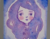 ACEO Original Watercolor Purple Blue Girl OOAK Gift Ceville Designs