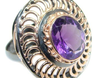 Amethyst Sterling Silver Ring - weight 13.60g - Size adjustable - dim L- 1 1 4, W - 1 1 8, T - 3 8 inch - code 28-mar-17-12