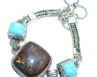 Boulder Opal, Larimar Sterling Silver Bracelet - weight 47.30g - dim 1 inch - code 6-lip-16-70