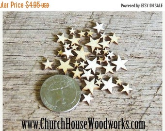 Summer SALE 50 Tiny Mixed Size Mini Wood Stars, Wood Confetti Hearts- Rustic Wedding Decor- Table Decorations- Wooden Stars-  DIY Craft Supp