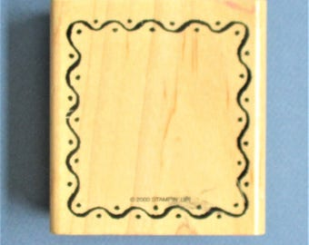 Border Frame Craft Rubber Stamp Destash Craft Supply Scrapbooking Card Making Stamping Supply Wood Mount Carved Rubber Decorative Frame