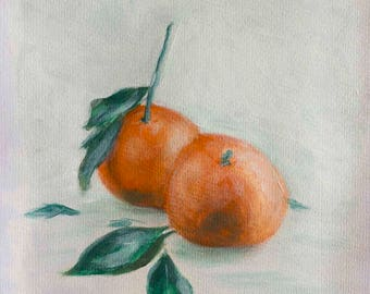"Tangerines Still Life Painting, Acrylic on Canvas 11.10"" x 8"" - ""Tangerines"""