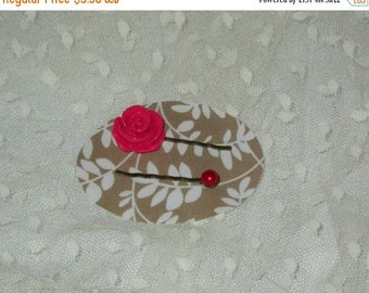 Summer Sale Set of 2 Bobby Pins, Red Resin Rose and Red Faux Pearl