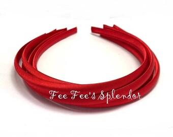 Set of 5 - Satin Lined headband - Red Satin headband- 7 mm- Hard headband- DIY headband blank