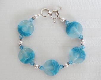 Ocean Wave Handmade Lampwork Bracelet, Sterling Silver, Pearls, Crystals, Beach