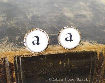 Letter A earrings - Vintage Stamped Letterpress Letters in Vintage Goldtone Posts