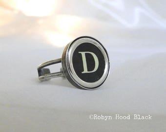 Typewriter Key Vintage Letter D Ring