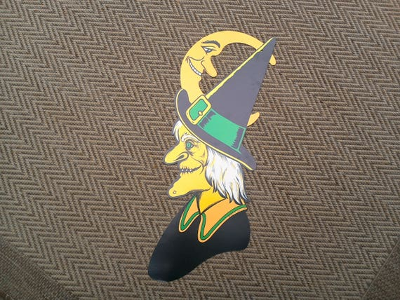 Vintage Halloween X-Large Double Sided, Beistle Witch Cardboard Paper Decoration ~ ON SALE