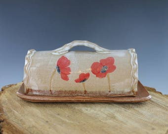 Covered Butter Dish Pottery White with Red Poppies Handmade