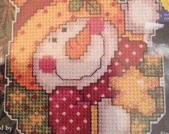 Vintage counted cross stitch kit / snowman / plastic canvas kit / christmas / xmas / wall hanging / plastic canvas / decoration ornament