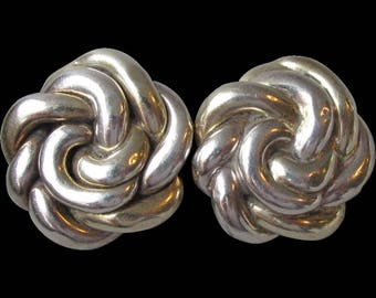 Big Chunky 1980's Vintage Designer Signed Sterling Silver Round Puffy Knot Clip Earrings