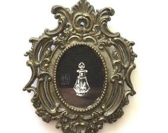 "Framed acrylic painting, ""Keepsake"" pop surrealism, still life, Victorian inspired, perfume bottle"