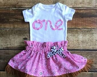First Birthday,Pink Bandana, Skirt, Fringe,Cowgirl,Western,One,Birthday Girl,Bodysuit, NEW DESIGN