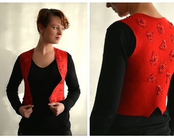 Passion - eco and boho chic fashion felted red vest from natural merino wool and silk - OOAK - to order