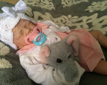reborn baby girl from huggable sculpt by Marita Winters reborn artist Michele Bouille available for adoption
