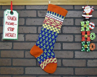 Fair Isle Christmas Stocking, Hand Knit with Orange Cuff, Pink Ivy and Green Trees, Can be Personalized, Wedding Gift, Baby Gift