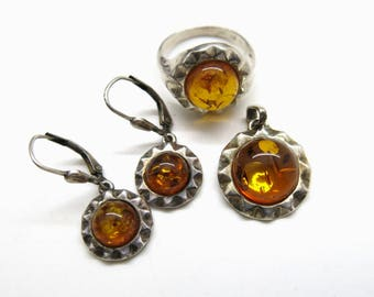 Jewelry Set Amber and 925 Sterling Silver | Boho Fashion