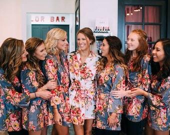Cotton Kimono Robe, Bridal Kimono, Soft Cotton Robe, Floral Kimono Robe, Custom Bridesmaid Spa Dress, Bride Photo Prop, Pajama Robe