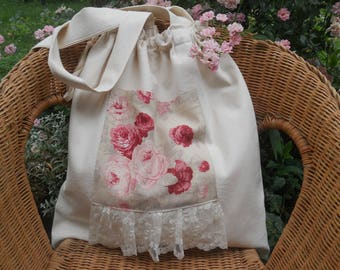 tote bag in old linen ecru shabby pink lovely lace tote bag