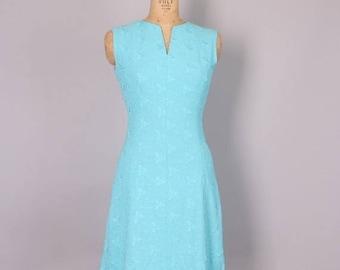40% SALE 1960s Sheath Dress // Blue Shift Dress // 27 inch waist  dress (xs-small)