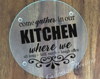 Gather In Our Kitchen Glass Cutting Board