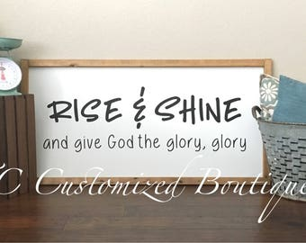 """Large 24x48"""" Wooden Sign, Wooden Sign, Rise And Shine Sign, Wood Sign, Horizontal Wooden Sign, Sign, Large Farmhouse Sign, Farmhouse Sign"""