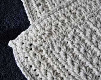 All Natural Cotton Crocheted Star Stitch Baby Blanket~Cotton Baby Blanket~Natural Fiber Newborn Blanket~Baby Blanket~Natural Fiber Blanket